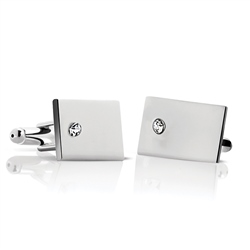 Newbridge Silverware Cufflinks - Clear Stone
