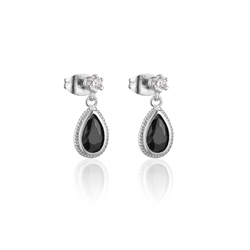 Newbridge Silverware Drop Earrings Black Stone