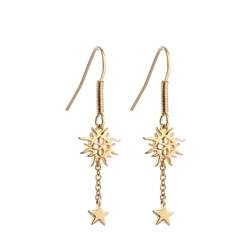 Drop Earrings with Sun and Stars