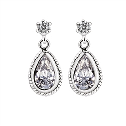 Newbridge Silverware Earrings Clear Stone
