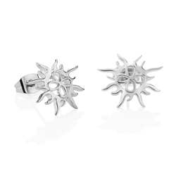 Silver Plated Sun Stud Earrings