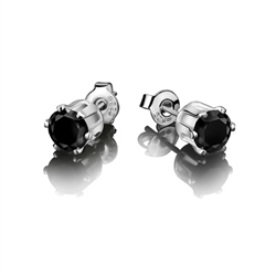 Newbridge Silverware Stud Earring Black Stone 9mm