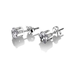 Newbridge Silverware Stud Earrings Clear Stone 6mm