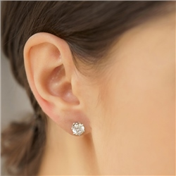 Newbridge Silverware Stud Earrings Round Clear