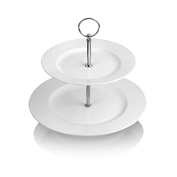 Whiteware 2 Plate Cake Stand