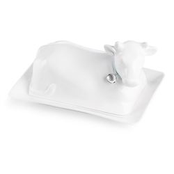 Whiteware Cow Butterdish