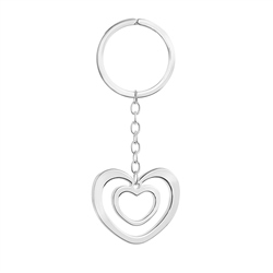 SP Double Heart Keyring by Newbridge Silverware