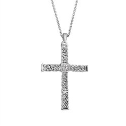Newbridge Silverware Celtic Cross Pendant Clear Stone