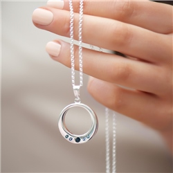Newbridge Silverware Circle Pendant Coloured Stones