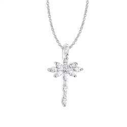 Newbridge Silverware Cross Pendant with Clear Stones