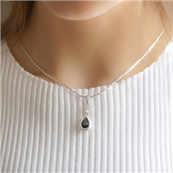 Newbridge Silverware Drop Pendant Black Stone