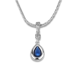 Drop Pendant Sapphire Blue Stone by Newbridge Silverware