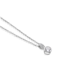 Newbridge Silverware Drop Pendant with Large Clear Stone