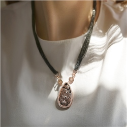 Newbridge Silverware Rose Gold Plated Black Agate Necklace