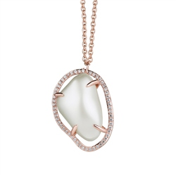 Newbridge Silverware Mother of Pearl Pendant Clear Stone