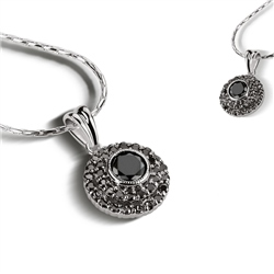 Newbridge Silverware Pendant Clear Black Stone