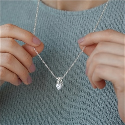 Newbridge Silverware Pendant Clear Heart Stone