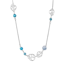 Newbridge Silverware Silverplate Necklace Blue Stones