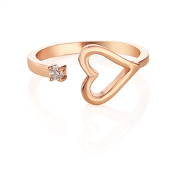 Newbridge Silverware Rose Gold Plated Heart Ring