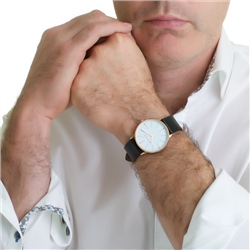 Mens Watch Black Leather Strap