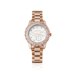 Newbridge Silverware Rose Goldplate Watch Clear Stones