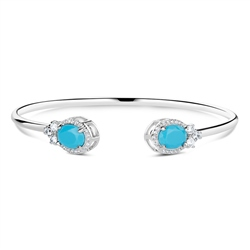 Newbridge Silverware Bangle with Turquoise Stones