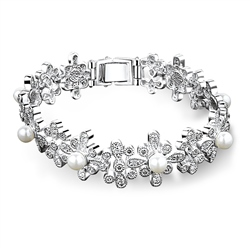 Newbridge Silverware Floral Pearl Beaded Bracelet