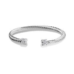Newbridge Silverware Rope Style Bracelet Clear Stones