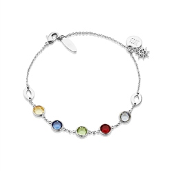 Silverplate Bracelet Coloured Stone
