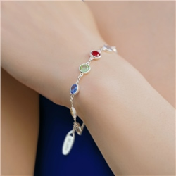 Newbridge Silverware Silverplate Bracelet Coloured Stone
