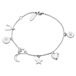 Silver Plated Bracelet Multi Charms