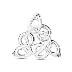 Newbridge Silverware Celtic Brooch Green Stones