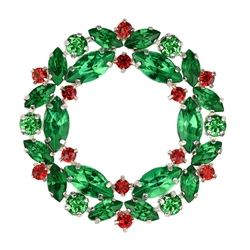 Newbridge Silverware Christmas Wreath Coloured Stones