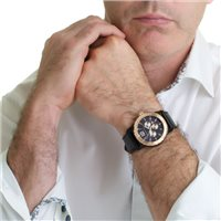 Mens Watch With Black Leather Strap