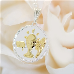First Communion Pendant Scalloped
