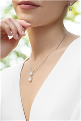 Pearl Drop Pendant with Clear Stone