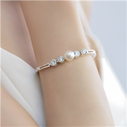 Cubic Zirconia & Pearl Bracelet by Newbridge Silverware