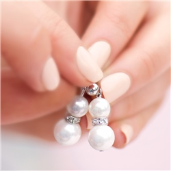 Pearl with Crystal Drop Earrings