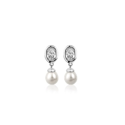 Pearl Drop Earrings with Clear Stones