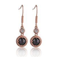 Newbridge Silverware Guinness Rose Goldplated Blk/Clear Stone Earring