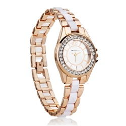 Ladies Watch Round Face (Rose) Clear Stones