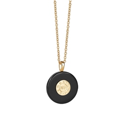 Newbridge Silverware Circular Pendant with Black Stone