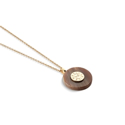 Circular Pendant with Brown Stone