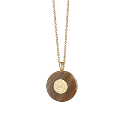 Newbridge Silverware Circular Pendant with Brown Stone