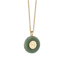 Newbridge Silverware Circular Pendant with Green Stone