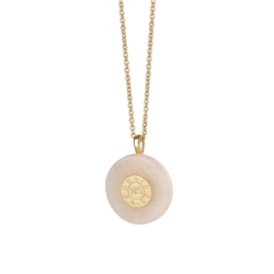 Newbridge Silverware Circular Pendant with Rose Stone