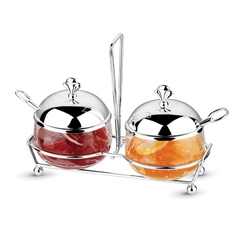 Silver Plated Double Jam Dish Set