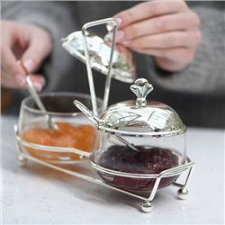 Silver Plated Double Jam Dish Set by Newbridge Silverware