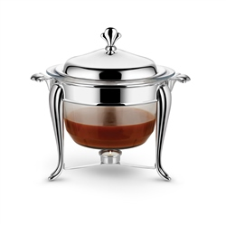 Silver Plated Glass 4L Round Warmer and Ladle
