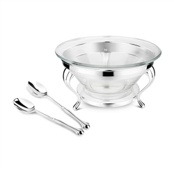 Silver and Chrome Plated Salad Bowl & Servers